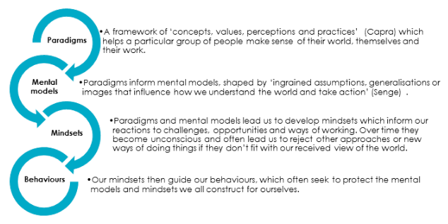 How behaviours are a function of mindsets, mental models and paradigms.